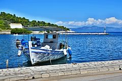 Greece, the island of Paxos - fishing boat in the port of Gaios Stock Images