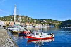 Greece,island Paxos-morning in the harbor Gaios Royalty Free Stock Image