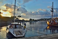 Greece, the island of Paxos -sunrise in the harbor Gaios Stock Photography