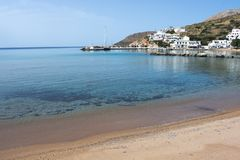 Greece the island of Sikinos.  The port and the port beach. stock photos