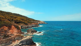 Greece island Skopelos north coast. Fly over north coast in the Skopelos island in Greece. The island is situated in the Aegean sea. Beautiful natural island stock video footage