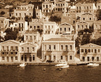 Greece. Island Symi. In Sepia toned. Retro style Royalty Free Stock Image