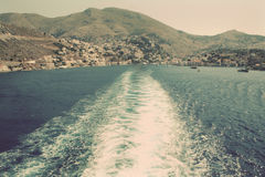 Greece. Island Symi (Simi). Mandraki harbor. In instagram style Stock Photography