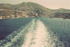 Greece. Island Symi (Simi). Mandraki harbor. In instagram style Stock Photography