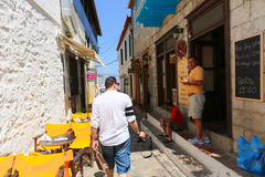 Greece islands. Tourists walling in Hydra island, Greece islands Royalty Free Stock Images