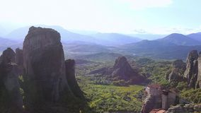 Monasteries on the Cliffs of Greece stock video