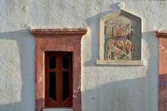 Greece Karapthos island Olympos village. Pattern of Saint Demetrius on a chapel in Olympos stock photo