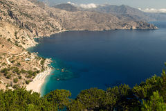 Greece, Karpathos Island Apella beach. Beautiful secluded beach in the north of Karpathos royalty free stock photo