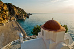Greece, Karpathos Island Kiria Panagia. Beach and churche of Kiria Panagia royalty free stock image