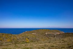 Greece. Kea island, Otzias. Blue sea and sky, landscape royalty free stock image