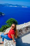 Greece - Kefalonia - Myrtos Beach from above 4 royalty free stock image