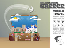 Greece Landmark Global Travel And Journey Infographic luggage.3D. Design Vector Template.vector/illustration. can be used for your business, advertisement or Royalty Free Stock Photo