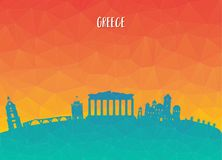 Greece Landmark Global Travel And Journey paper background. Vect. Or Design Template.used for your advertisement, book, banner, template, travel business or Stock Photo