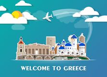 Greece Landmark Global Travel And Journey paper background. Vect. Or Design Template.used for your advertisement, book, banner, template, travel business or Royalty Free Stock Image