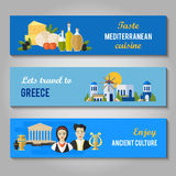 Greece Landmarks and cultural features flat banners design set Stock Photos