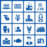Greece Landmarks and cultural features icons design set Royalty Free Stock Photos