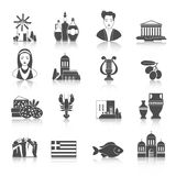 Greece Landmarks and cultural features monochrome icons design s Stock Photos