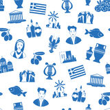 Greece Landmarks and cultural features seamless pattern Stock Images