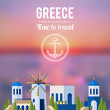 Greece Landmarks with sunset travel banner design Royalty Free Stock Images