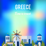 Greece Landmarks with sunset travel banner design Stock Photography