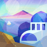 Greece landscape in low poly geometric style. Landscape of ancient temple, mountains, sea, beach, sailboat. Vector illustration for web and mobile phone and Royalty Free Stock Image