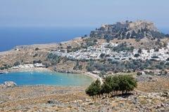 greece lindos rhodes Fotografering för Bildbyråer