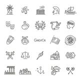Greece line icon set.Vector stock illustration