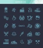 Greece line icon set.Vector. Ancient, Greek civilization. Art and culture vector icon set Stock Images