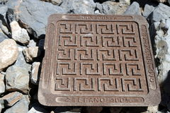 Greece. The manhole cover. Stock Photo