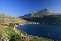 Greece, Mani. Greece.  View of Oitylio and the rugged and bare landscape of Mani region in southern Peloponnese Stock Photos