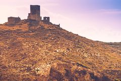 Stone old tower house on Mani, Greece. Stock Photo