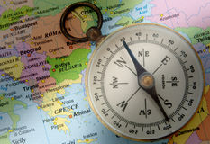 Greece map. Compass and map with Greece highlighted royalty free stock photos