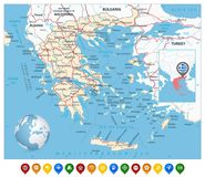 Greece Map and Colorful Map Markers Stock Photos