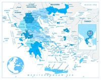 Greece Map in Colors of Blue Stock Photo
