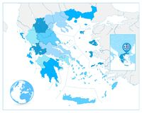 Greece Map in Colors of Blue. No text Stock Photos