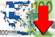 Greece map on Euro money background and red arrow down Royalty Free Stock Photo