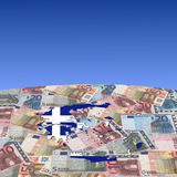 Greece map flag on euros Stock Photography