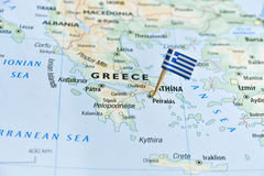 Greece map flag pin stock photography