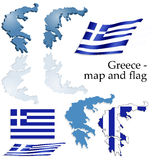 Greece - map and flag set Royalty Free Stock Images