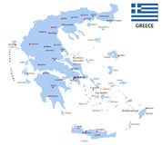 Greece map with flag Royalty Free Stock Photo