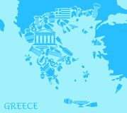Greece map. Vector illustration. Greece map in the form of traditional symbols Stock Photography