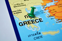 Greece map. Macro shot of greece map with push pin Stock Photography