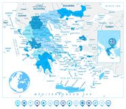 Greece Map and Map Markers in Colors of Blue Stock Images