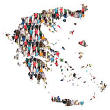 Greece map multicultural group of people integration immigration. Diversity isolated royalty free stock photo