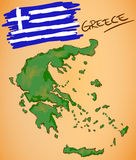 Greece Map and National Flag Vector Stock Images