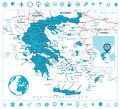 Greece Map and Navigation Icons Stock Photography