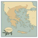 Greece map with olives, branches and olive leaves. Retro style. Stock Image
