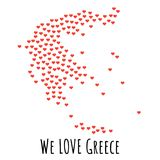 Greece Map with red hearts - symbol of love. abstract background. Greece Map with red hearts- symbol of love. abstract background with text We Love Greece Stock Photo