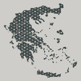 Greece map with stars and ornaments including borders. Illustration Royalty Free Stock Image