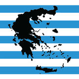 Greece map vector with the greek flag Royalty Free Stock Photos